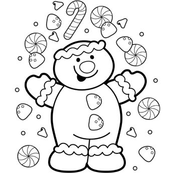 Gingerbread Coloring Page    Free Downloadable Page for Kids