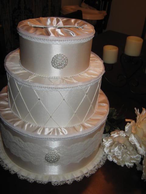 Cardbox Wedding Bride Diy White Ivory Reception Elegant Bridal Satin And Lace Cake Card Box