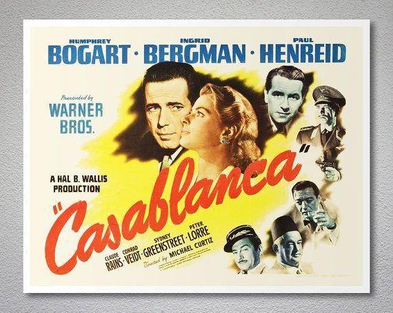Casablanca Movie Poster  Humphrey Bogart Ingrid by WallsNeed
