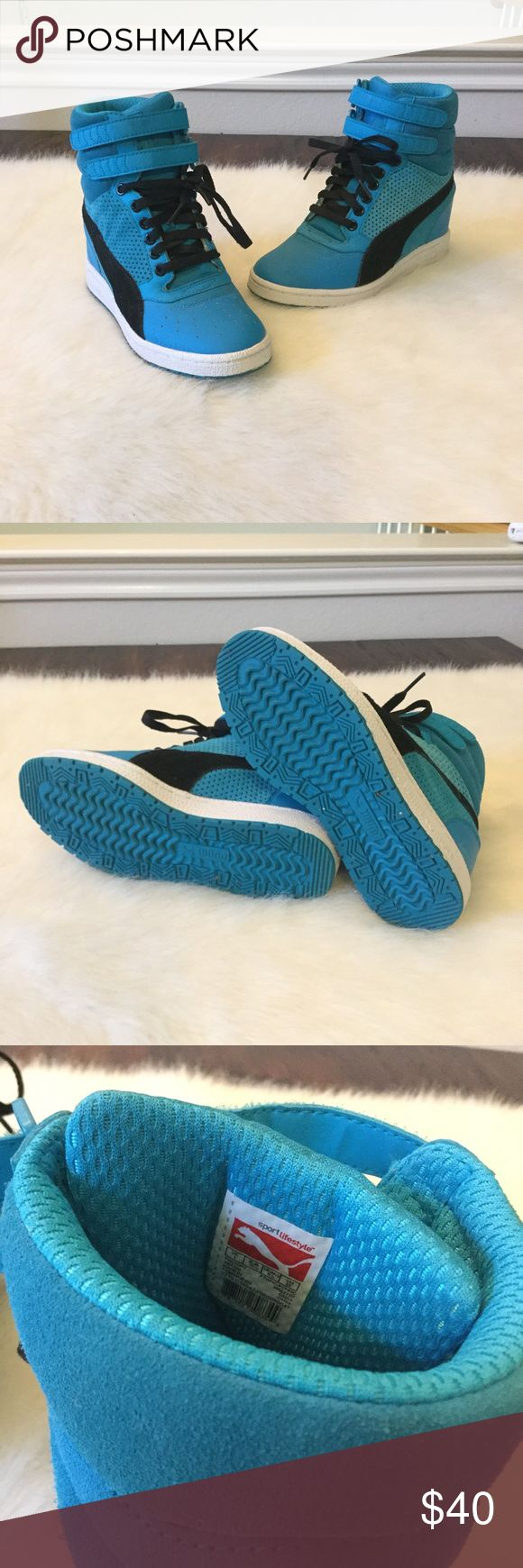 Blue Puma Sneaker wedges EUC Blue Puma sneaker wedges. Great condition, very minor wear. Rarely worn. Runs big, can fit 5.5 to 6 ✨ Puma Shoes Sneakers