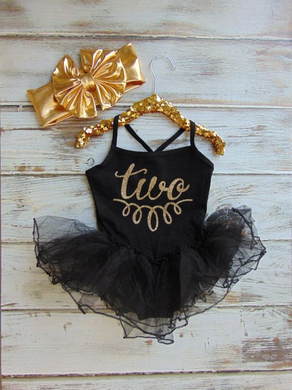 7b98f49c026 Gold Glitter Birthday Black Leotard with Tutu - Spaghetti Strap One Piece  Leotard Dress - Toddler Second Birthday - Girl Birthday O…