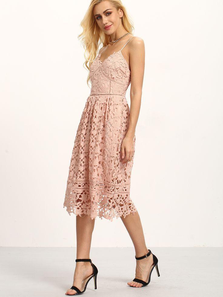 Shop Hollow Out Fit & Flare Lace Cami Dress online…