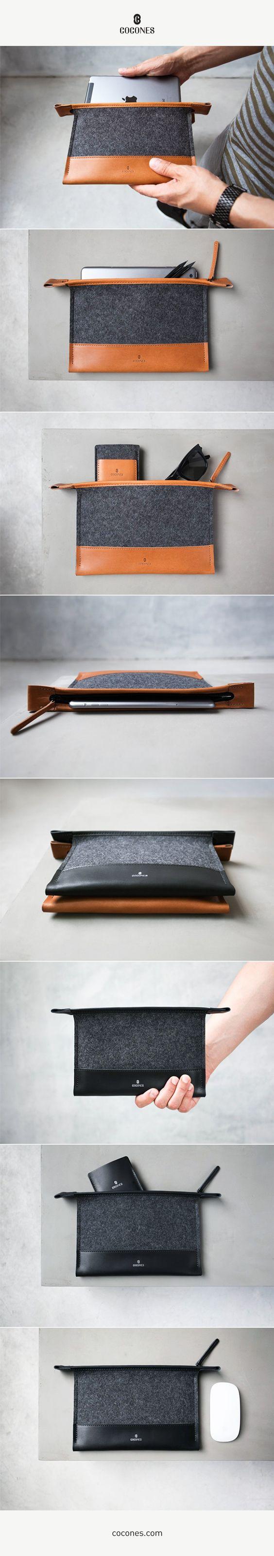 Cocones Mini Folio Case - iPad mini / Kindle  -  100% Merino Wool Felt and Vegetable Tanned Leather.