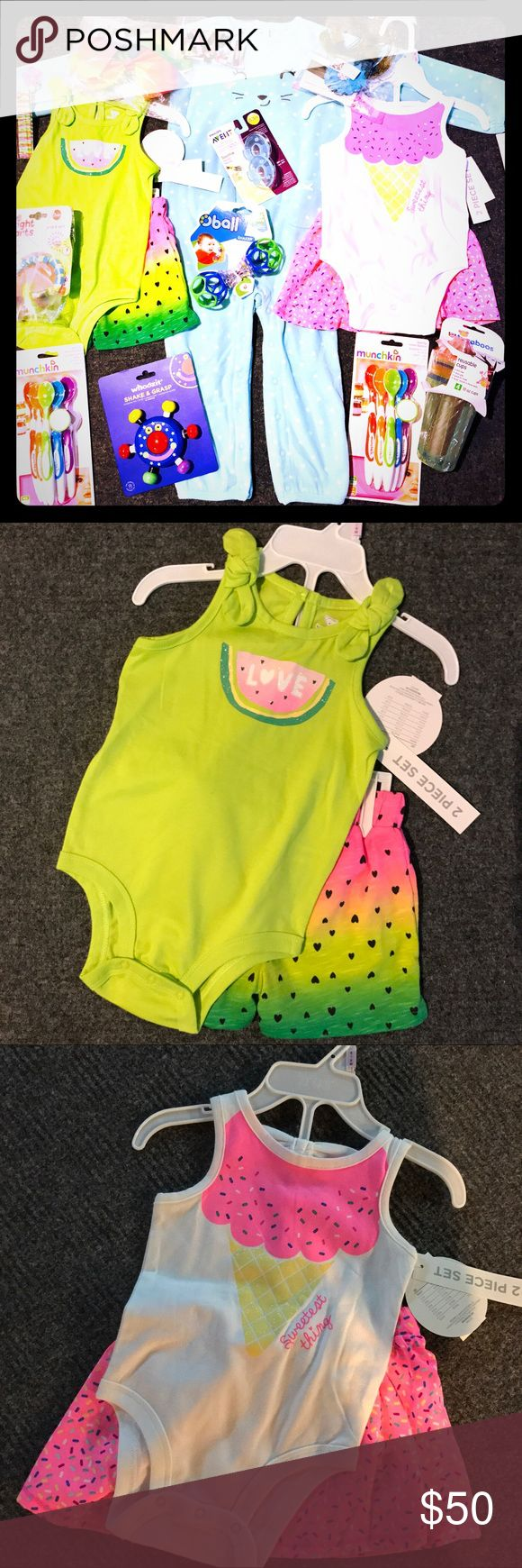 📍LAST CHANCE 📍 Huge Baby Girl Bundle! All included Carter's 24M one piece outfit, two 6-9M Koala Baby 2 piece Outfits, two packages of MUNCHKIN 6 pack soft tip spoons, OBALL Shaker, Boutique Brand Manhattan Toy Company WHOOZIT Wooden Toy, Bright Starts Grasp & Spin, 🌈 Colored 8 inch hairbow, Boutique Set of 10 Grosgrain Ribbon 🎀 Cover clips. Peacock Feather Headband, PHILLIPS Advent Soothie Pacifier Set Plus a bonus gift! Carter's Other
