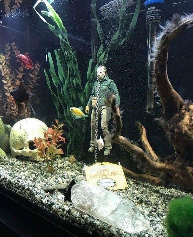 Jason Voorhees Fish Tank Decoration Gtage Fish Tank Themes Fish Tank Decorations Diy Fish Tank