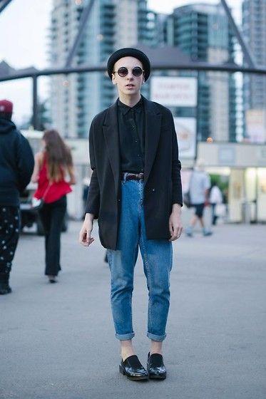H&M Bowler Hat, Topshop Sunglasses, H&M Blazer, Zara Silk Button Up, Topshop Motto Petite Mom Jeans, Zara Shoes