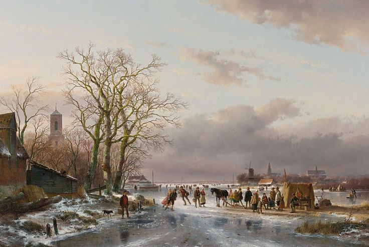 "Andreas Schelfhout, ""Skaters and a Horse-Sledge"" (1857)"