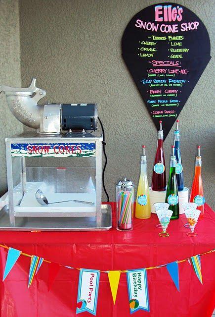Snowcones <3 pool parties! Homemade snow cone syrup, snowcone bar. www.ellebellecreative.com