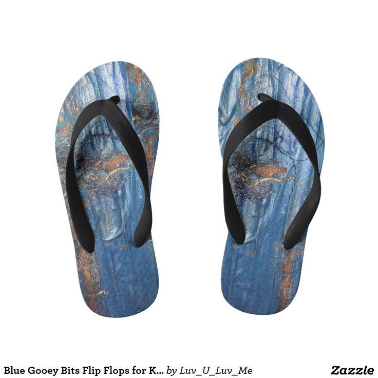 Blue Gooey Bits Flip Flops for Kids/Adults Thongs