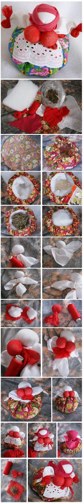 Traditional russian doll kubyshka-travnitza filled with herbs. Guard of home and health. Step-by-step tutorial.   #babushka #handmade