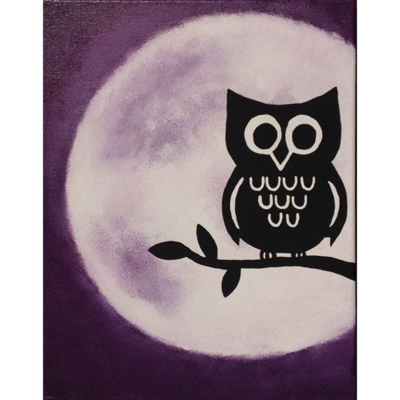 Acrylic Owl Silhouette by ShmangiePaints on Etsy, $45.00