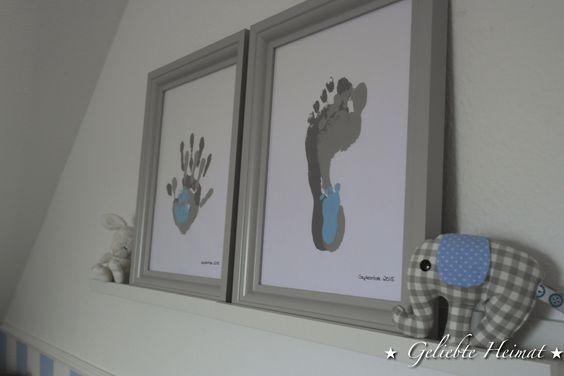 Erinnerung, Babyzimmer, Fußabdrücke, Handabdrücke, DIY, Kinderzimmer, Junge, Ikea Bilderrahmen, grau, Elefant, nähen