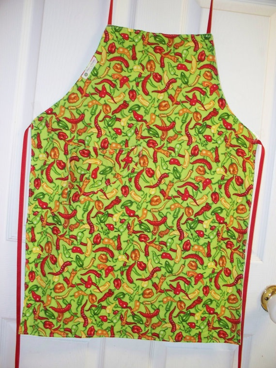 BIB APRON HOT ChILI PePPerS with PoCKet by PlainnSimplebyMimi