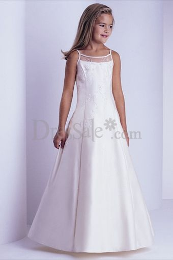 Scoop Neckline Sleeveless Full Length Dresses for First Communion Dresses