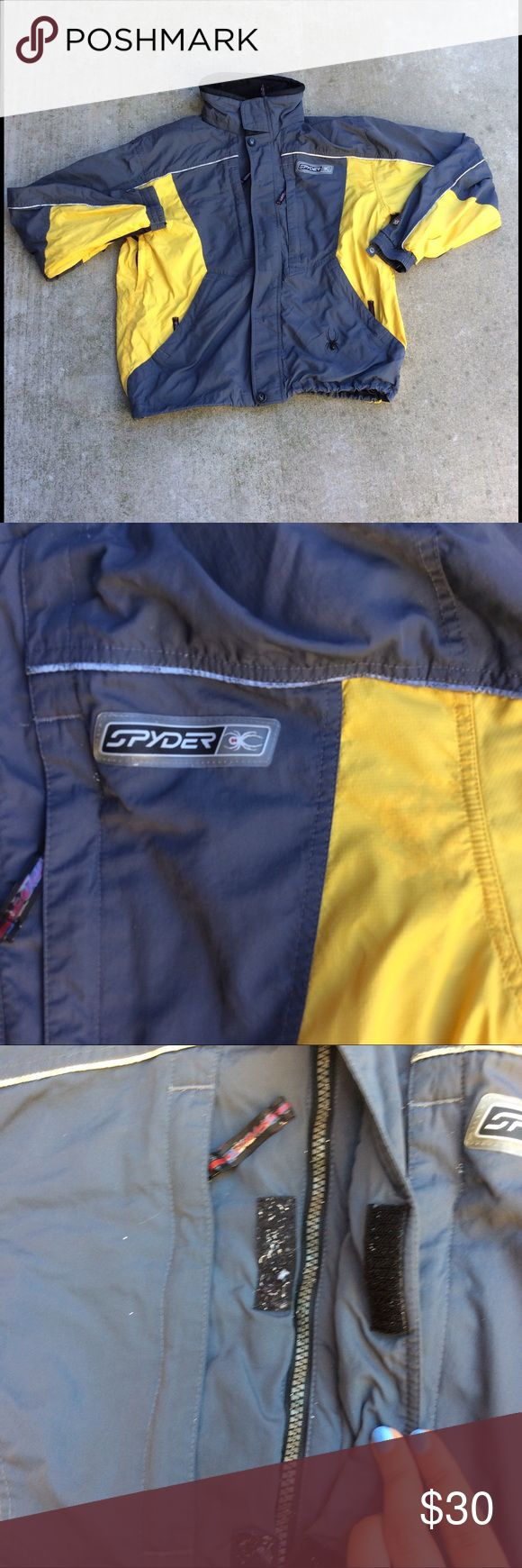 Men's spyder jacket Mens spider jacket   Size large   Yellow and gray   XT 5,000   Heavily used with discoloration as pictured. Needs TLC Spyder Jackets & Coats Ski & Snowboard