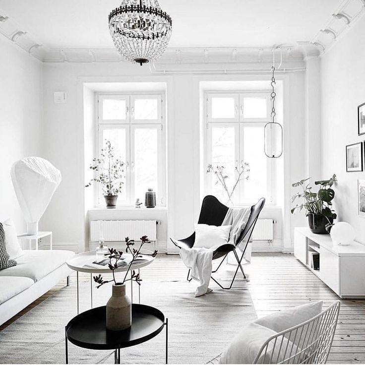 Scandinavian living room. White interior.