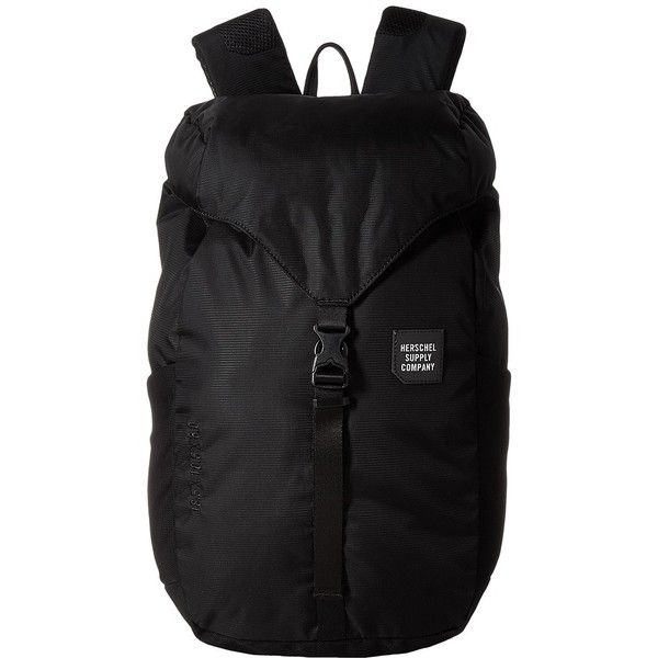 Herschel Supply Co. Barlow Medium (Black) Backpack Bags ($78) ❤ liked on Polyvore featuring bags, backpacks, water bottle backpack, herschel supply co backpack, water resistant backpack, utility backpack and drawstring backpack