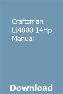 Craftsman Lt4000 14hp Manual Chevrolet Optra Chevrolet Manual