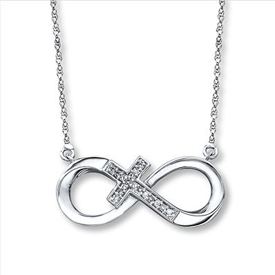 Infinity Cross Necklace 1/20 ct tw Diamonds Sterling Silver God F8rever