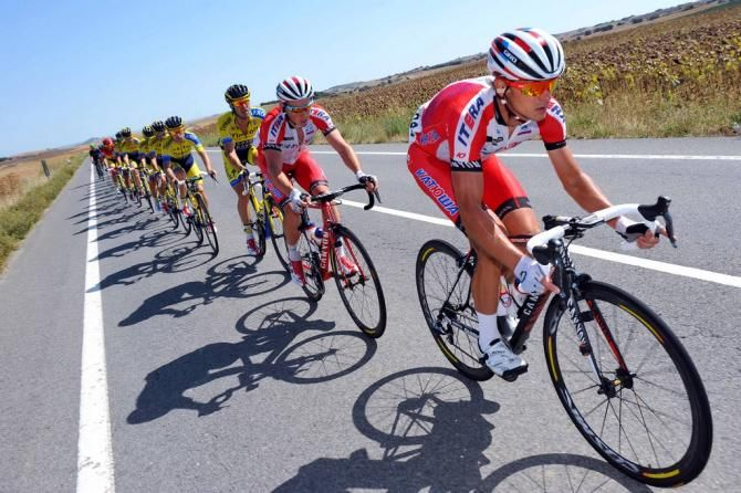 Vuelta a España 2014 - Stage 11: Pamplona - San Miguel de Aralar (Navarre) 153.4km - #LaVuelta #LaVuelta2014 #Vuelta #Vuelta2014 #VueltaEspana - Eduard Vorganov (Katusha) on the front of the bunch