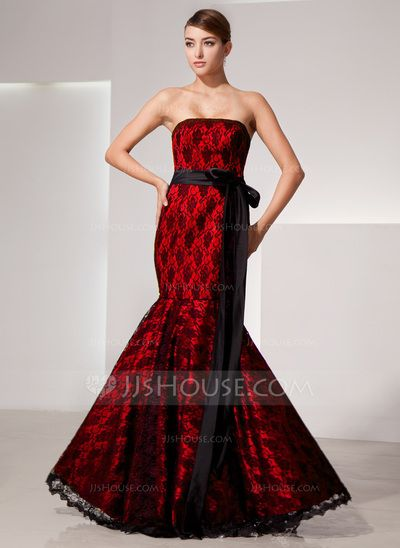 Trumpet/Mermaid Strapless Floor-Length Charmeuse Lace Evening Dress With Bow(s) (017014463)