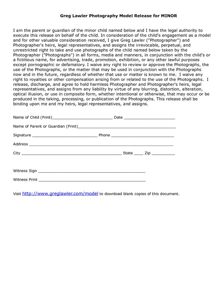 minor model release form template | Photography | Pinterest