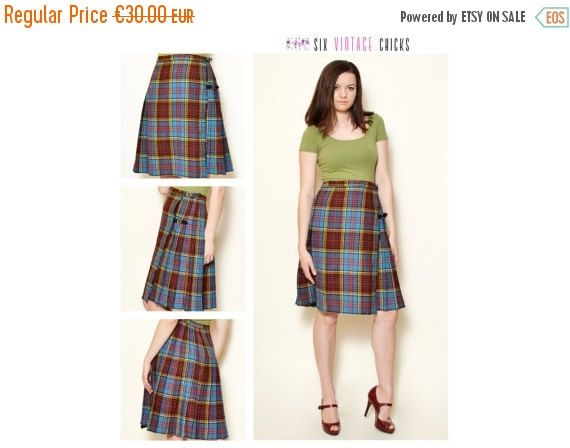 VALENTINES DAY SALE Vintage Plaid Pattern Skirt/ 80's Tartan , mini skirt Size S/M/36/38 Free Shipping, Gift Idea For Her by SixVintageChicks on Etsy
