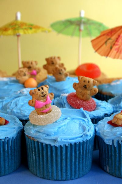 Teddy Graham Beach Party - mom you so did this for me or chris, with that bundt cake and graham cracker diving board! I love it so much! haha i can't believe i remember that!
