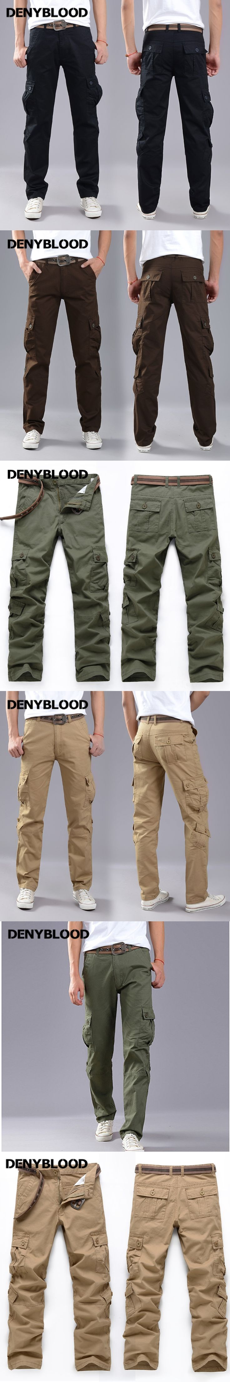 Denyblood Jeans Men's Cargo Pants Chinos Mutli Pockets Army Green Military Khaki High Quality Long Trousers Casual Pants 2172
