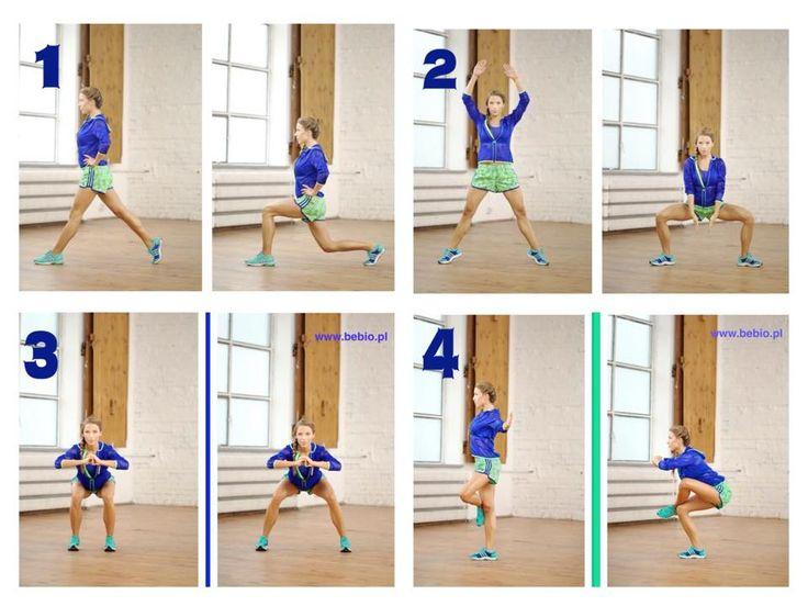 SMUKŁE UDA każde ćwiczenie 15 razy na każdą stronę pomiędzy każdym ćwiczeniem pajacyki całość powtórzyć 3 razy
