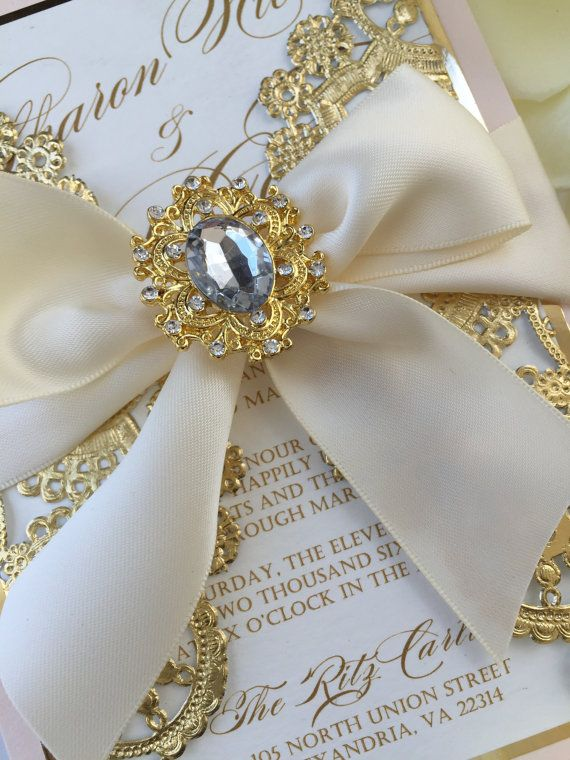 Wedding Invitations Blush pink and gold por AlexandriaLindo en Etsy