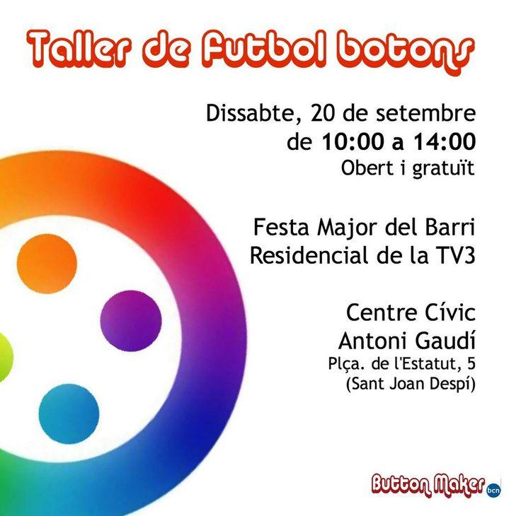 Taller de fútbol con botones sábado 20 de septiembre #FestaMajor #Lamercè2014 #futbolbotons @Buttonmakerbcn
