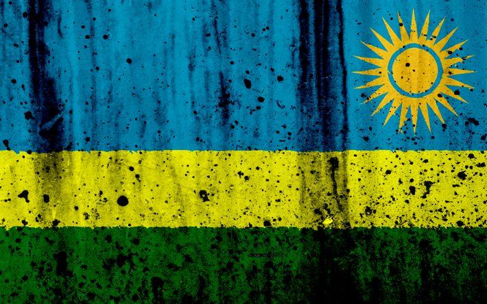 Download wallpapers Rwanda flag, 4k, grunge, flag of Rwanda, Africa, Rwanda, national symbols, Rwanda national flag