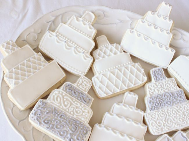 decorated sugar cookies wedding | In the above picture, the all white cookie on the right is similar to ...
