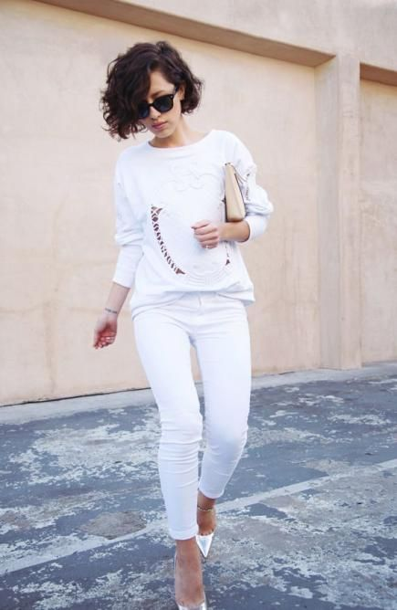 Crisp white jeans can be the starting point for a multitude of all-white outfits.