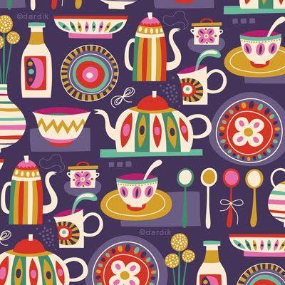 tea party pattern: Pretty Patterns, Teas Time, Patterns Goodies, Color, Orange You Lucky, Applique Patterns, Helen Dardik, Teas Parties, Graphics Patterns
