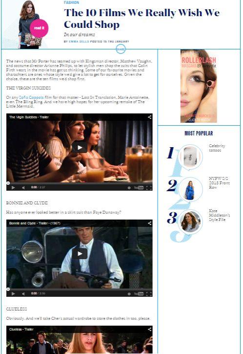 Un articolo di Elle molto interessante sulla possibilità di acquistare i look proposti nei nostri film preferiti. Potrebbe essere una buona idea per una newsletter, ma anche per un progetto più ampio. http://www.elleuk.com/fashion/the-10-films-we-really-wish-we-could-shop-dream-wardrobe-stylish-movies?utm_content=buffer2a47b&utm_medium=social&utm_source=facebook.com&utm_campaign=buffer