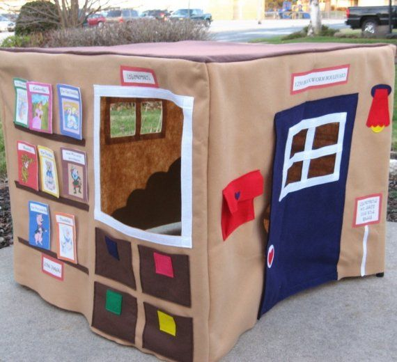 """Cute idea. Our Local Library Card Table Playhouse - Etsy item This listing is for a playhouse that fits over your own card table. I will make it to fit the measurements of your card table exactly. It can also be customized to fit any size table. (There is an extra charge for tables over 38"""". The extra char..."""