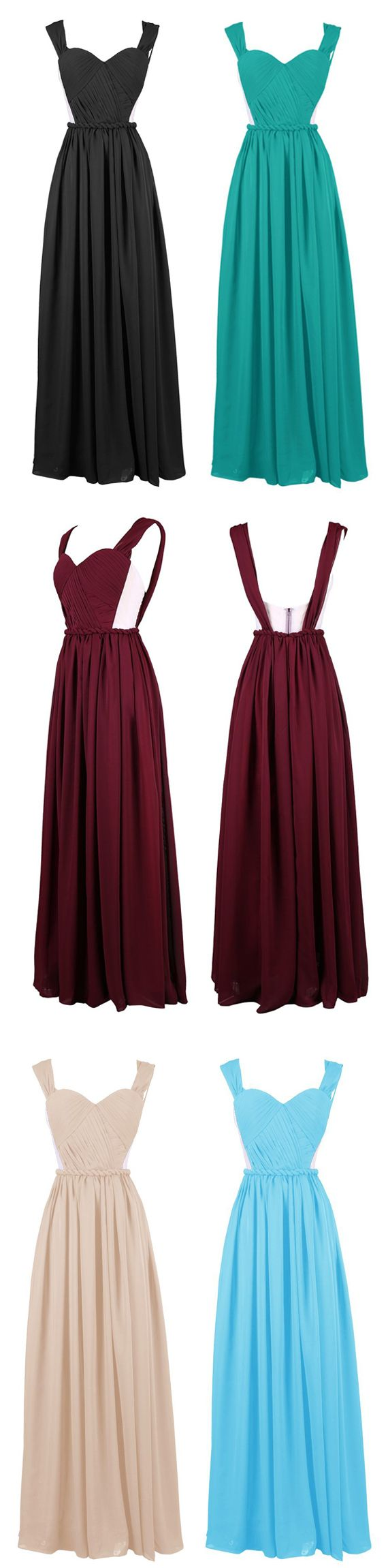 Delicate A-line Sweetheart Straps Chiffon Long Prom Dress With Sexy Cutout #prom #bridesmaid #evening #wedding #dress