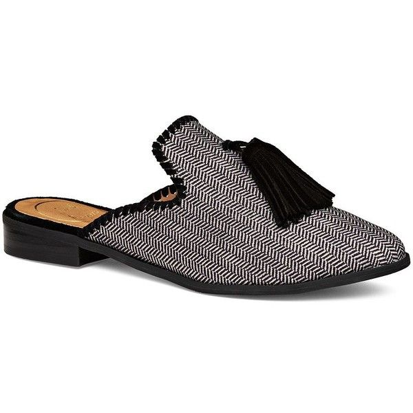Jack Rogers Delaney Smoking Flat Slides Sandals (€100) ❤ liked on Polyvore featuring shoes, sandals, flat sandals, flat shoes, pointed toe sandals, flat footwear and pointed toe flat shoes