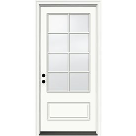 Jeld Wen Aurora 3 4 Lite Simulated Divided Light Right Hand Inswing Ivory Painted Fiberglass Prehung Entry Door Wit Entry Doors Fiberglass Entry Doors Jeld Wen