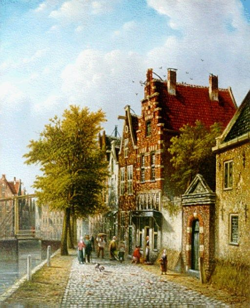 Johannes Franciscus Spohler (Rotterdam 1853-1894 Amsterdam) Figures in a sunlit street - Dutch Art Gallery Simonis and Buunk Ede, Netherlands.