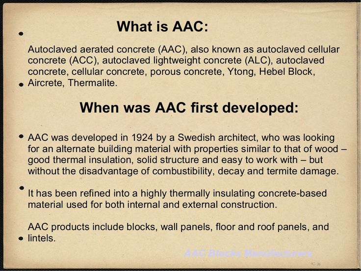Autoclaved aerated concrete (AAC), also known as autoclaved cellular concrete (ACC), autoclaved lightweight concrete (ALC), autoclaved concrete, cellular concrete #aacblocks