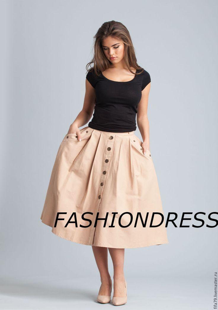 Купить Ретро Стиль Бежевая Юбка Летняя - однотонный, бежевая юбка, летняя юбка