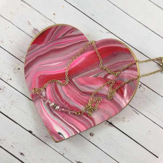 Red and Pink Marbled Clay Heart Ring Dish by MonicaRudyJewelry. A perfect gift for Valentine's Day, bridesmaids or as a treat for yourself.