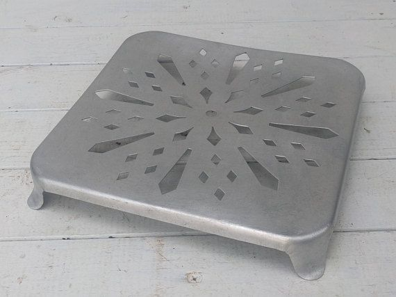 Polished Aluminum Trivet Square Mid-Century Vintage French
