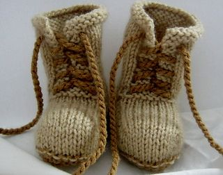 This is a pattern for combat bootie for a baby. They are worked from the cuff down in one piece ending at center of sole. Directions are included for knitting in the round.
