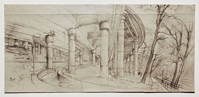 """Rackstraw Downes, """"UNDER THE OFF-RAMP FROM THE GEORGE WASHINGTON BRIDGE"""" (2009). Graphite on light blue paper with blue threads, 17 x 36 3/4 inches"""
