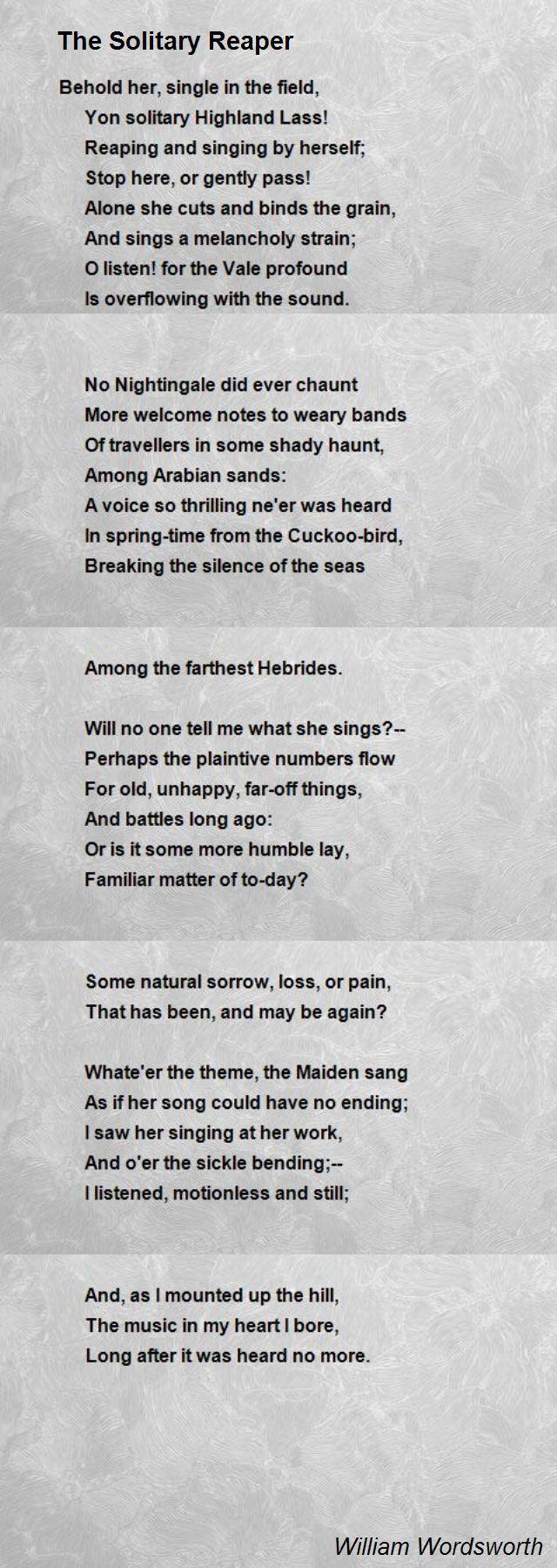 Solitary reaper william wordsworth poem analysis