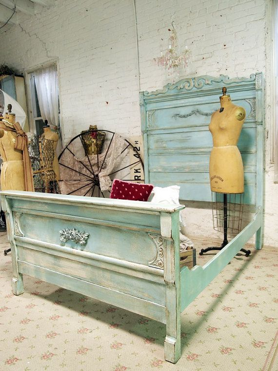 Painted Cottage Chic Shabby Aqua French Farmhouse Bed